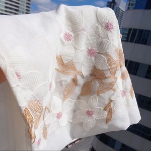 """🌿 Embroidered Floral Sheer Curtain 52 * 63"""""""